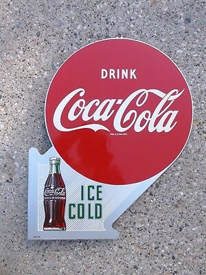 1950's COCA COLA TIN TWO SIDED FLANGED ADVERTISING SIGN w BOTTLE