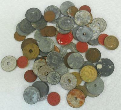 60 TOKENS - Most are old TAX tokens A few foreign coins