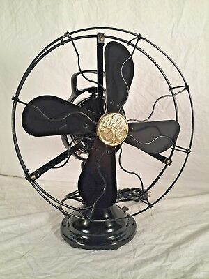 Antique Fully Restored c1917 GE 4 Wing Rare Steel blade 2 Star Oscillating Fan