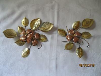 """Vintage Home Interior """"Dogwood /Leaves"""" Brass/Copper Wall Accents - Set of 2"""