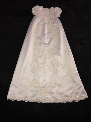 White Faux Satin Christening Gown Size 12 Months Long