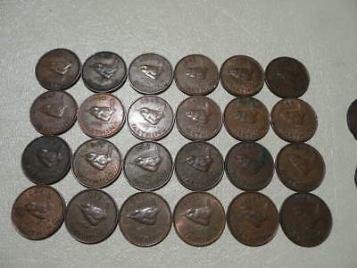 Lot of 24 English Farthing Coins of England - with Wren Birds (tweety birds)