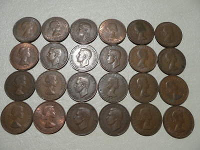 Lot of 24 Half Penny Coins of England - mix of reigns