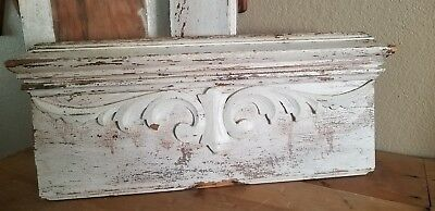 FAB~ Vintage Antique Salvaged Chippy WHITE Carved Wood ARCHITECTURAL PEDIMENT