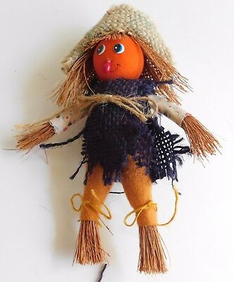 Vintage Hand Crafted Straw Burlap Scarecrow Halloween Ornament