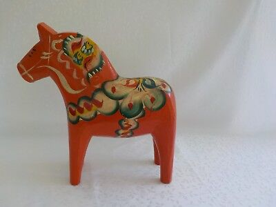 "Dala Horse Orange Wood Painted 8"" Total 1 Red Green Yellow Carved Wooden"