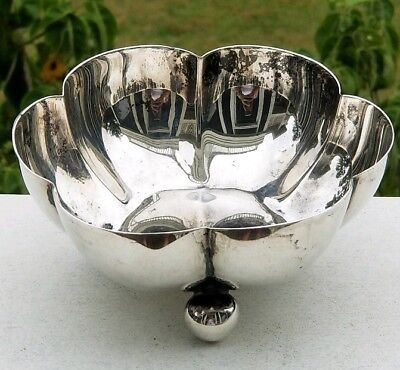 Heavy Taxco Sterling Mexican Silver Lobed And Footed Bowl, 152 Grams, Not Scrap