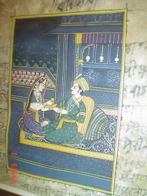 Antique Indian India Miniature Mughal Painting Krishna Lovers with Jeypoor Stamp
