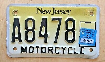 "1995 New Jersey Motorcycle Cycle License Plate "" A 8478 ""  Nj 95"