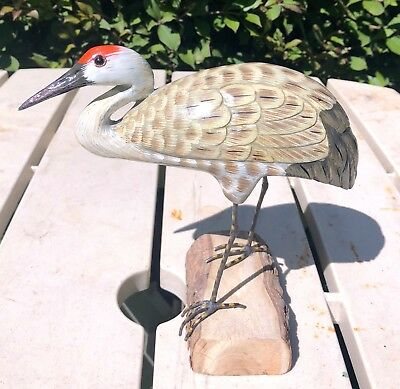 """Wooden Bird Sandhill Crane Hand Carved And Hand Painted-7"""""""
