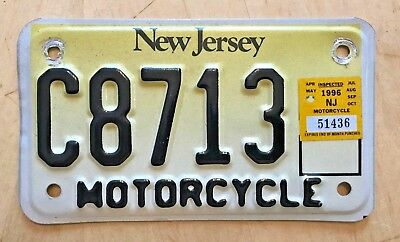 """1996 New Jersey Motorcycle Cycle License Plate """" C 8713 """"  Nj 96"""