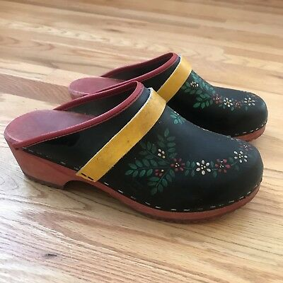 Vintage Sweden Clogs Swedish Wood Black Red Yellow Flowers Hand Sz 38 Painted