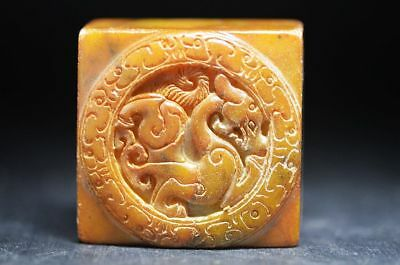 Chinese old jade hand-carved Auspicious Brave troops seal Y26