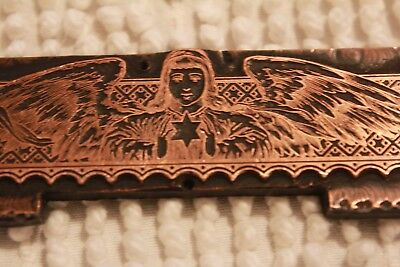 Antique Copper Printing Plate Letterpress Angel Feather Wings Star of David