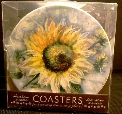 Coasters Absorbent  Stoneware Round Sunflower Beverage Serving Coasters