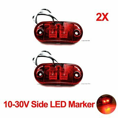 2X 12V 24V Red Side Clearance LED Marker for Trailer Truck Boat Turn Lamp Light