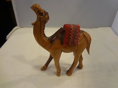 Detailed Hand-Carved Wood Standing Camel Figurine W/Cloth Saddle