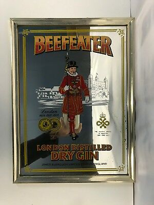 Vintage Beefeater London Distilled Dry Gin Alcohol Advertising Bar Mirror Frame
