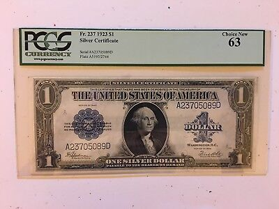Fr 237 $1 1923 Silver Certificate PCGS 63 Choice New uncirculated !!