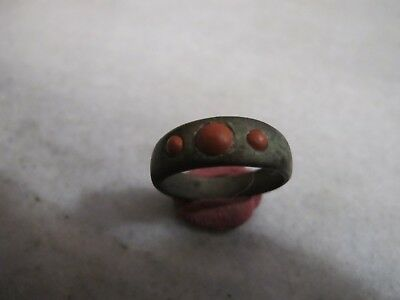 Antique Late Medieval Bronze Ring With Red Jasper Stones