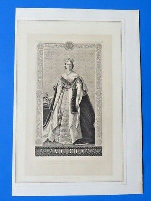 Queen Victoria Engraving By A. Krausse From Portrait By Winterhalter