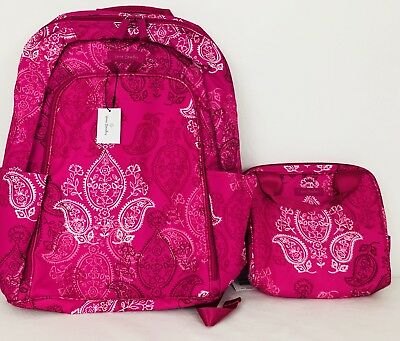 Vera Bradley Lot Laptop Backpack Lunch Cooler Stamped Paisley Pink Lighten ↑ NWT