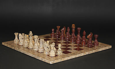 """16"""" Chess Set Fossil Stone & Red-Brown Marble Hand Made in Velvet/Suede Gift Box"""