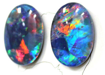18x13mm Loose Stones Pair Of Natural Black Triplet Opal Stones For Earring #16