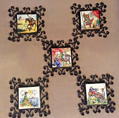 5 Antique Spanish Tiles Handmade Don Quixote Characters Wrought Iron Frames 1950