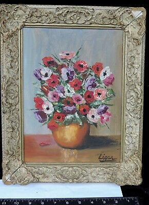 Oil Painting of Vase with Fresh Flowers Signed Original Framed