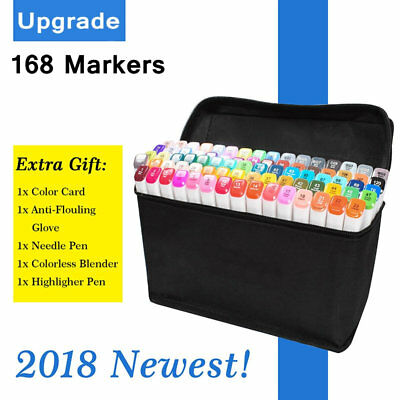 Upgrade! 168 Colour Markers Pen Twin Tips Graphics Art Sketch Broad Fine Point