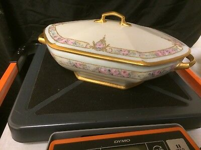 M Z Austria Hand Painted Covered Serving Dish Roses Enamel Beading & Gold