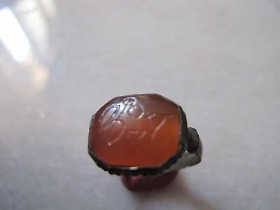 Antique Medieval Occult, Magic Bronze Ring With Carnelian Intaglio Stone