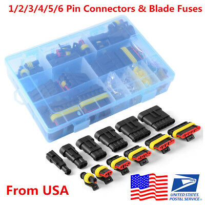 Car Waterproof Electrical Connector Terminals 1/2/3/4/5/6 Pin Way+Fuses With Box