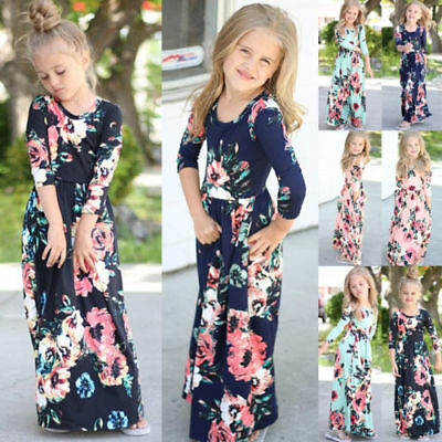 Girls Kids Floral Print Long Sleeve Boho Dress Party Beach Holiday Maxi Dresses