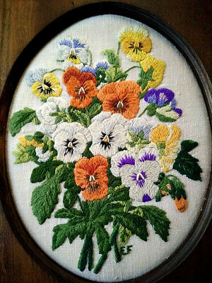 Stunning Vintage Pansy/Pansies ~ Hand Embroidered Framed Picture