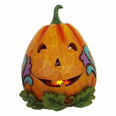 Jim Shore*2 SIDED LIT JACK O' LANTERN PUMPKIN*2018*GOOD / EVIL*Halloween*6001549