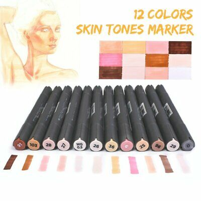 12 Skin Tones Colour Twin Tips Marker Pens for Manga Sketch Art Drawing Artist