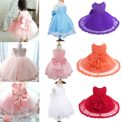 Newborn Baby Girl Pageant Party Birthday Wedding Princess Lace Tutu Flower Dress