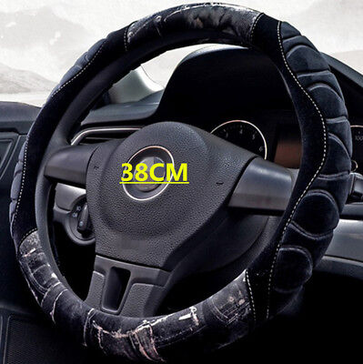 Black Soft Warm Plush Car Steering Wheel Cover Grips Protector Winter 38cm Hot