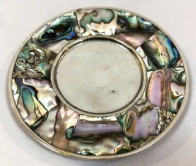 Vintage silverplate Alpaca Mexico small trinket pin dish mother-of-pearl abalone