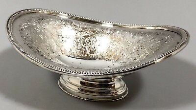 Antique silver plate oval pedestal bowl chased floral ornate dish Johnston & Co