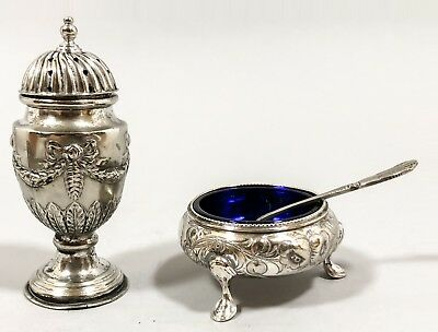 Antique condiment cruet pair pepper salt cauldron embossed high-relief swags