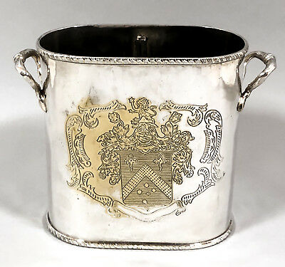 Vintage silverplate double wine bottle coaster holder 2-handle armorial engraved