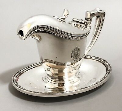 Antique International Silver plated sauce gravy boat on oval stand 6 oz/170 ml