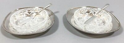 Mappin Webb silver plate pair 2 butter dishes coasters spreader glass liners
