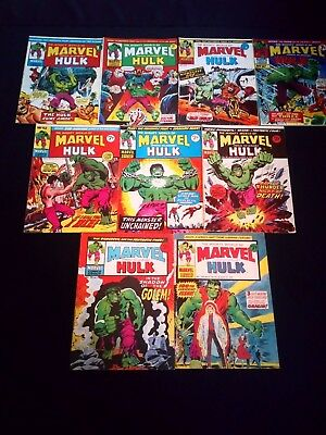 The Mighty World of Marvel Starring The Incredible Hulk Vintage Joblot x 10 1974
