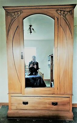 Antique Art Nouveau Satinwood Double Sized Wardrobe