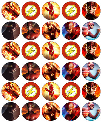 30x The Flash DC Cupcake Toppers Edible Wafer Paper Fairy Cake Toppers