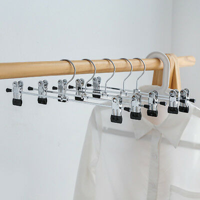 10Pcs Metal Clip Hangers Clothes Trousers Pants Bra Skirt Dress Coat Hook Rack S
